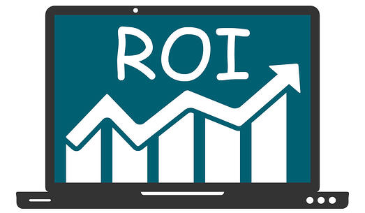 Computer Screen Showing a Graph with an Upward Arrow and ROI Above because of the use of MAM