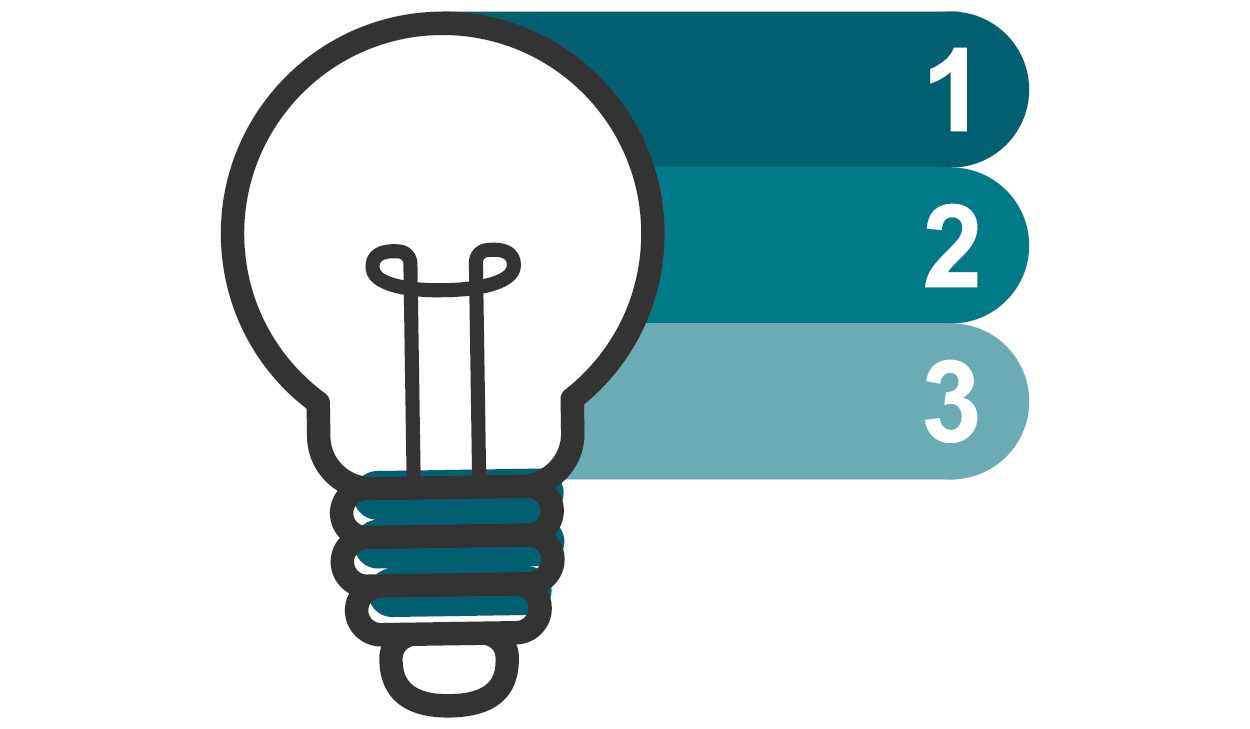 Light bulb with the Numbers One, Two, & Three in Different Shades of Teal Listed on the Right Side