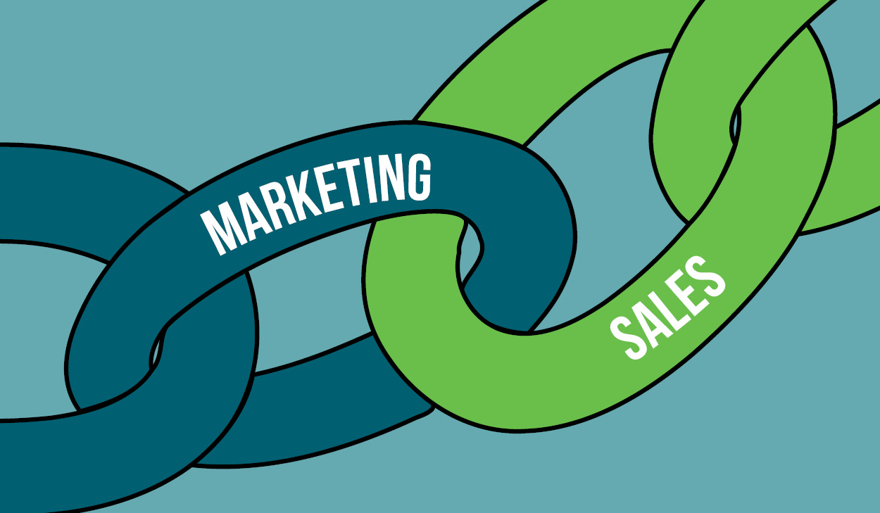 A Chain with a Marketing Link connecting to a Sales Link to Show a Strengthened Relationship